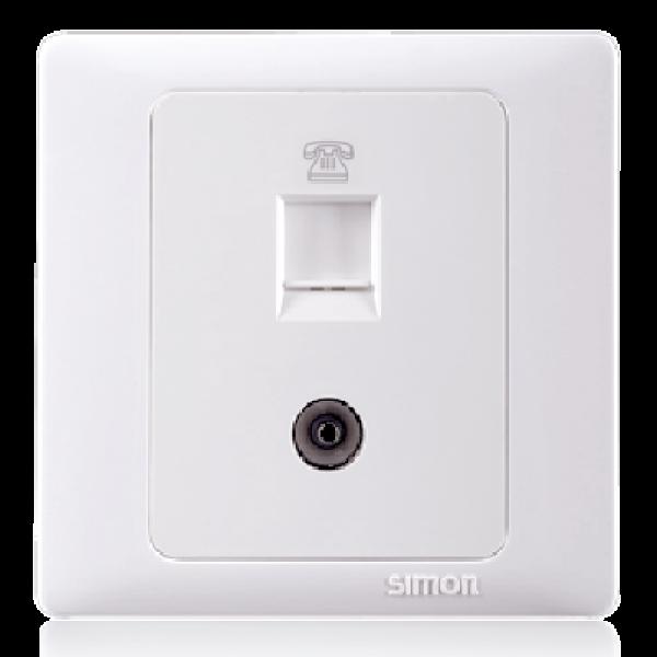 Bộ ổ cắm điện thoại chuẩn RJ11 và ổ cắm TV chuẩn kết nối trực tiếp Simon 55301