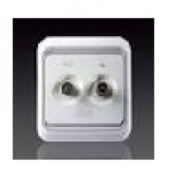 Bộ ổ cắm TV/FM có bảo vệ và kết nối đầu vào đầu ra chuẩn F Simon 60486-50