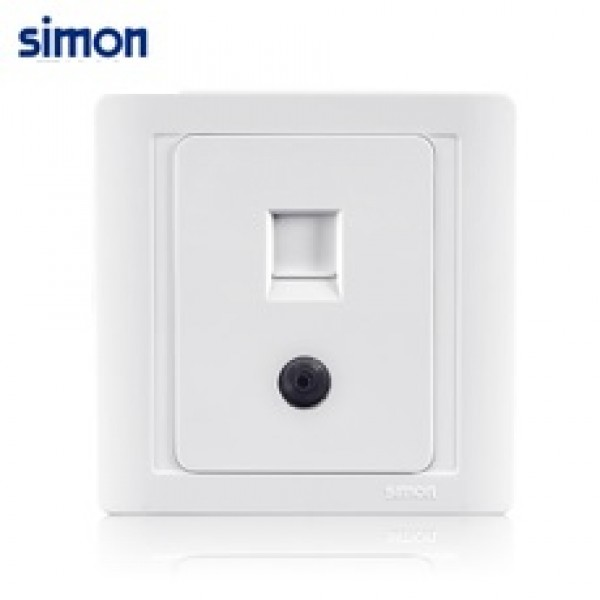 Bộ ổ cắm TV kết nối trực tiếp chuẩn và ổ cắm dữ liệu chuẩn RJ45 và Cat.5e Simon 60492S-50
