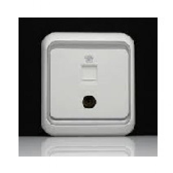 Bộ ổ cắm điện thoại chuẩn RJ11 và ổ cắm TV, KT chuẩn 9,52mm kết nối trực tiếp Simon 60491-50