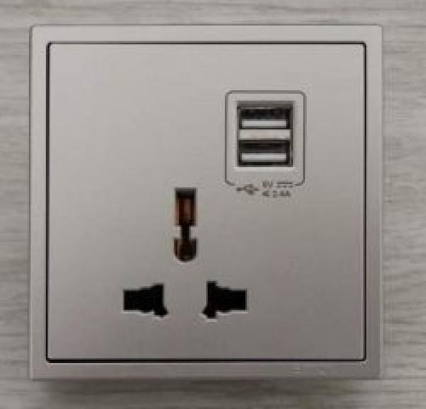Ổ cắm đa tiêu chuẩn + 2 công tắc sạc USB Simon